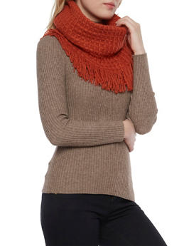 Fringe Infinity Scarf with Waffle Knit - RUST - 3125067442263