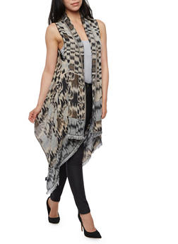 Printed Sleeveless Frayed Hem Kimono - 3125067442307