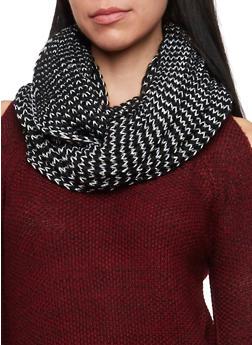 Shimmer Knit Infinity Scarf - BLACK - 3125067443263