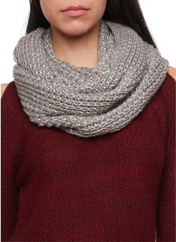 Shimmer Knit Infinity Scarf - GRAY - 3125067443263
