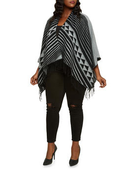 Plus Size Kimono Scarf with Geometric Design - 3125067443611
