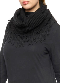 Fringe Infinity Scarf with Square Knit - BLACK - 3125067443617