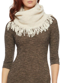 Fringe Infinity Scarf with Square Knit - NATURAL - 3125067443617