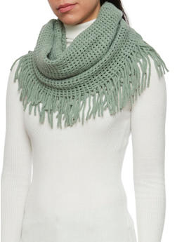 Fringe Infinity Scarf with Square Knit - GREEN - 3125067443617