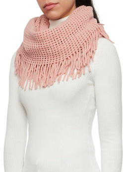 Fringe Infinity Scarf with Square Knit - BLUSH - 3125067443617