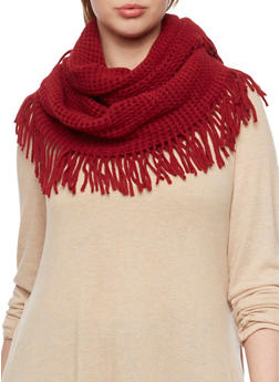 Fringe Infinity Scarf with Square Knit - BURGUNDY - 3125067443617