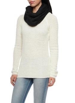 Chevron Knit Infinity Scarf - BLACK - 3125067443619
