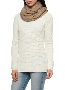 Chevron Knit Infinity Scarf - TAUPE - 3125067443619