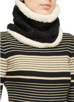 Cable Knit Pullover Scarf with Faux Fur Lining - BLACK/NATURAL - 3125067443622