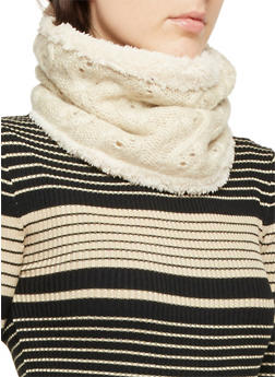 Cable Knit Pullover Scarf with Faux Fur Lining - 3125067443622