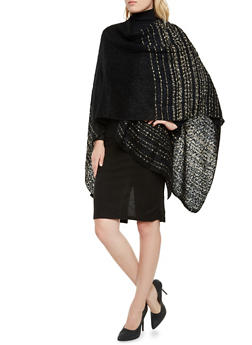 Wrap Poncho in Multicolored Knit - 3125067443623