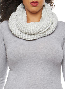 Shimmer Knit Infinity Scarf - WHITE - 3125067443638
