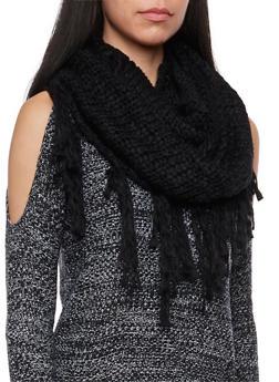 Fringe Knit Infinity Scarf - 3125067443642