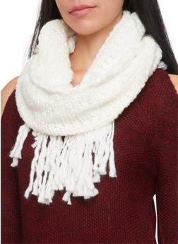 Fringe Knit Infinity Scarf - WHITE - 3125067443642