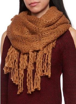 Fringe Knit Infinity Scarf - CAMEL - 3125067443642