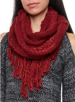 Fringe Knit Infinity Scarf - BURGUNDY - 3125067443642