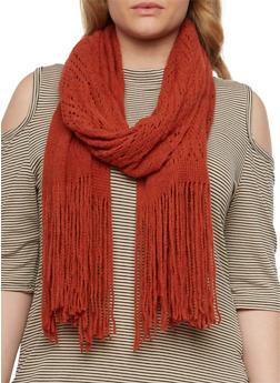 Crochet Scarf with Fringe Trim - RUST - 3125067443647