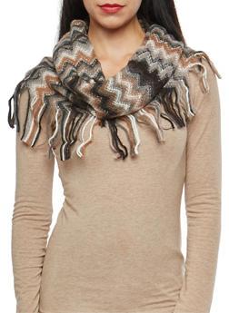 Chevron Fringe Knit Infinity Scarf - 3125067443703