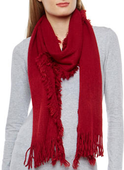 Long Knit Fringe Scarf - 3125067443705
