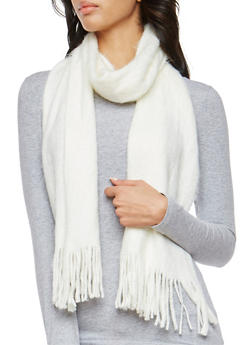 Brushed Knit Fringe Scarf - 3125067443707