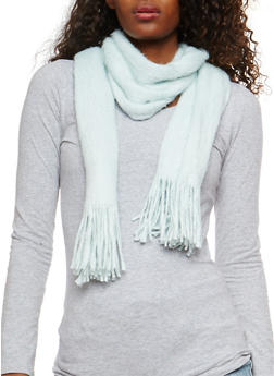 Brushed Knit Fringe Scarf - GREY MIST - 3125067443707
