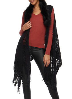 Knit Fringe Vest with Faux Fur Collar - 3125067443711