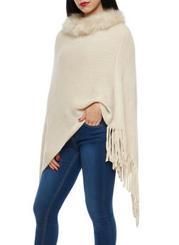 Fringe Poncho with Faux Fur Collar - 3125067443712