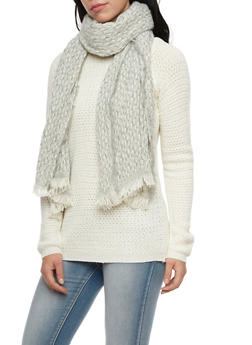 Two Tone Knit Scarf with Fringe - WHITE/GREY - 3125067444463