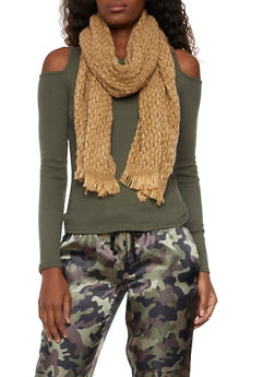 Two Tone Knit Scarf with Fringe - CAMEL - 3125067444463