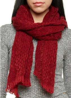 Two Tone Knit Scarf with Fringe - BURGUNDY - 3125067444463
