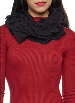 Stretch Knit Ruffled Infinity Scarf - BLACK - 3125067445263