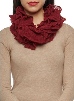 Stretch Knit Ruffled Infinity Scarf - 3125067445263