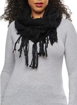 Crochet Fringe Infinity Scarf - BLACK - 3125067446234