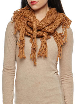 Crochet Fringe Infinity Scarf - CAMEL - 3125067446234