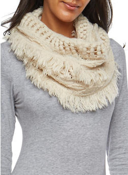 Mixed Knit Fringe Infinity Scarf - 3125067446434