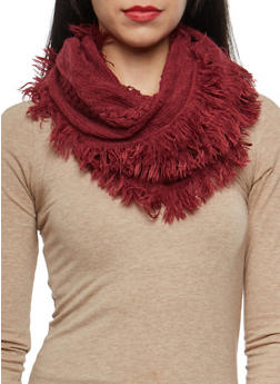 Mixed Knit Fringe Infinity Scarf - 3125067446434