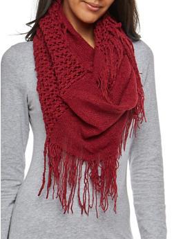Mixed Knit Fringe Infinity Scarf - 3125067446463
