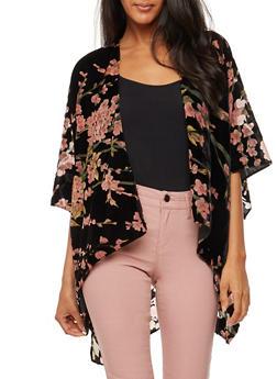 Velvet Floral Print Kimono - 3125067447041