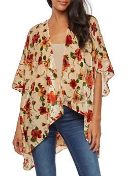 Velvet Floral Print Kimono - KHAKI - 3125067447041