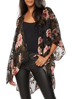 Velvet Floral Print Kimono - BLACK MESH - 3125067447041