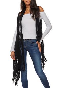 Crocheted Vest with Fringe - BLACK - 3125067447044