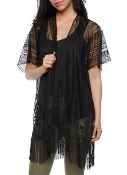 Mesh Lace Kimono with Fringe Hem - 3125067448006