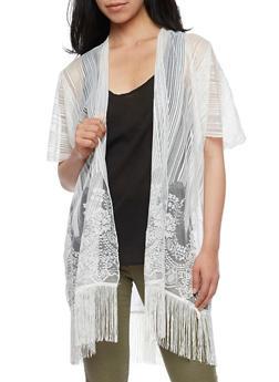Mesh Lace Kimono with Fringe Hem - WHITE - 3125067448006