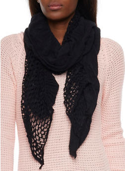 Ruffle Scarf with Open Knit Side - 3125070430091