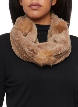 Plush Infinity Scarf with Faux Fur Pom Poms - 3125072340184