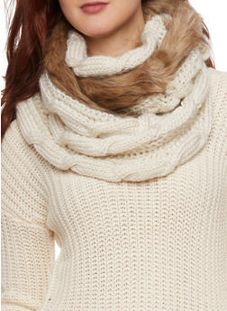 Infinity Scarf with Faux Fur Trim - TAUPE - 3125072347017