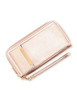 Faux Leather Wristlet Wallet - 3126041656116