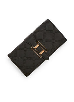 Textured Faux Leather Wallet with Metal Buckle - 3126060145079