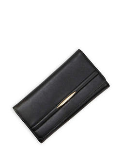 Faux Leather Accordion Wallet with Metal Accent - 3126060145088