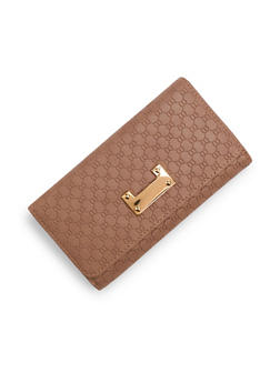 Embossed Faux Leather Wallet with Metallic Detail - 3126060145091